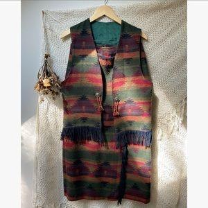 Vtg Southwestern Skirt & Vest Set